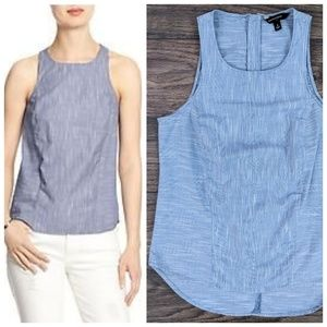 BR Chambray Stripe Sleeveless Poplin Zip-Back Tank